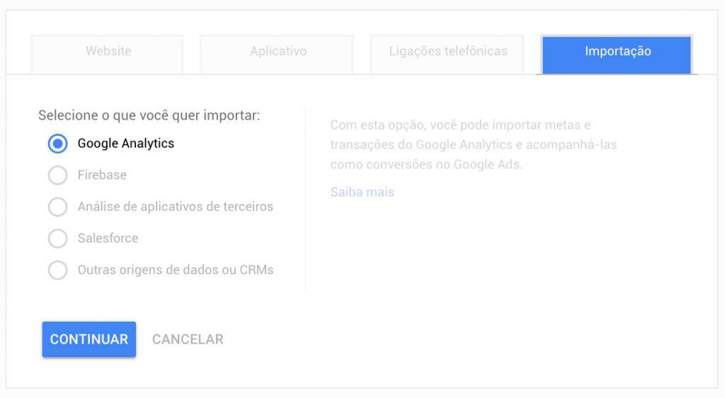 Recurso de Importação de Conversões de outro sistema para o Google Ads [Passo 2]
